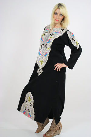 Vintage 70s Hippie Caftan Turkish Embroidered - shabbybabe  - 5