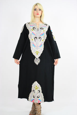 Vintage 70s Hippie Caftan Turkish Embroidered - shabbybabe  - 4