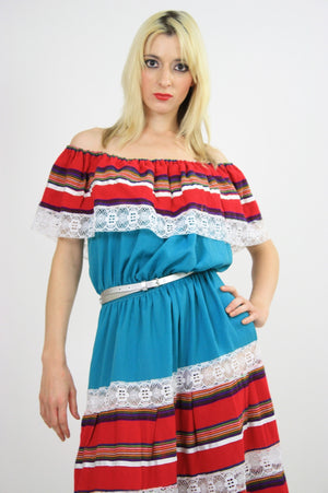 Vintage 70s Southwestern Mexican lace Ruffle dress - shabbybabe  - 4