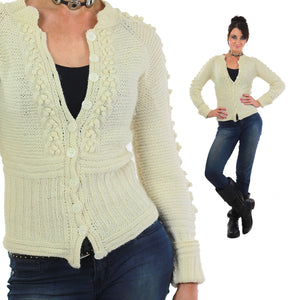 Cable knit cardigan sweater fitted long sleeve wool - shabbybabe  - 5
