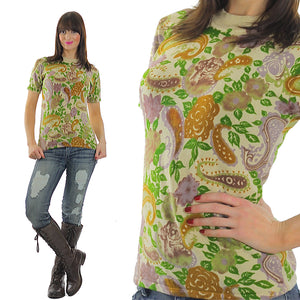 70s Boho Hippie Paisley knit Neon top shirt sweater - shabbybabe  - 5