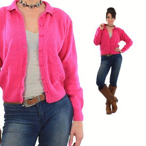 Pink Cardigan Sweater 80s Button up Angora Grunge - shabbybabe  - 5