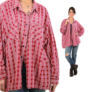 Vintage 90s grunge Red flannel shirt red white checkered oversize Large - shabbybabe  - 5