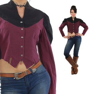 80s Western Concho Gothic Crop Top Colorblock Button Up - shabbybabe  - 4