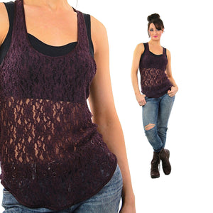 90s grunge goth purple sheer lace tank top shirt - shabbybabe  - 5