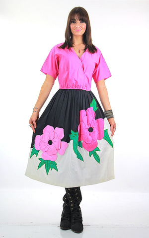 70s Mexican floral applique full skirt dress Jesus A Diaz - shabbybabe  - 1