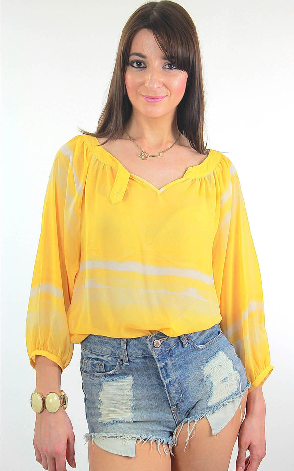 70s Boho Sheer draped tie dye yellow peasant top shirt - shabbybabe  - 1
