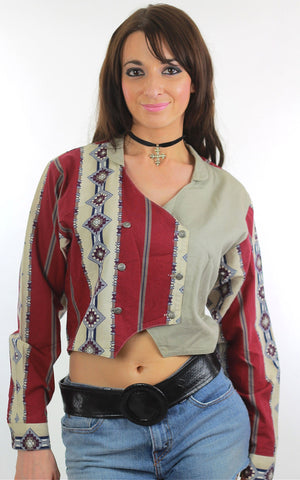 80s Southwestern boho color block cropped jacket - shabbybabe  - 1