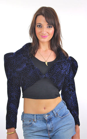 80s Cocktail party cropped metallic velvet jacket top - shabbybabe  - 1