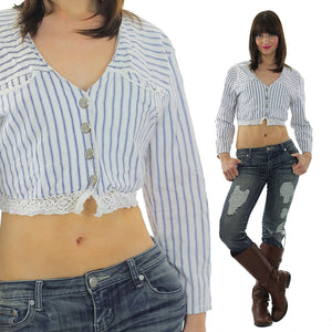 Vintage 90s striped button up blouse crop top - shabbybabe  - 5