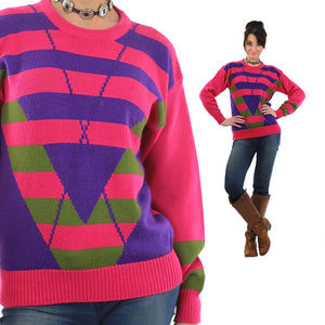 Pink Sweater top 80s abstract Striped pullover - shabbybabe  - 5