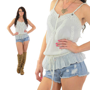 White Mesh Tank top 90s Boho sheer lace top Embroidered - shabbybabe  - 5