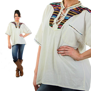 70s Mexican embroidered lace up hippie boho blouse - shabbybabe  - 5
