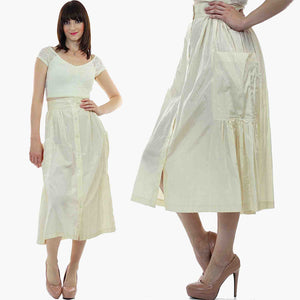 Vintage 80s  Boho white pleated party maxi skirt - shabbybabe  - 5
