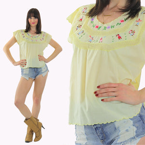 Vintage 70s Boho Hippie embroidered crochet lace top - shabbybabe  - 5