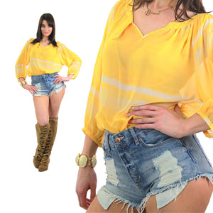 70s Boho Sheer draped tie dye yellow peasant top shirt - shabbybabe  - 5