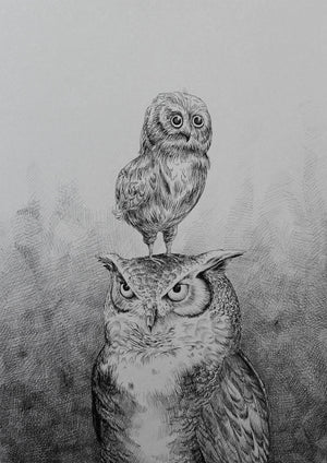 Father & Son (Owls) fra Morten Løfberg