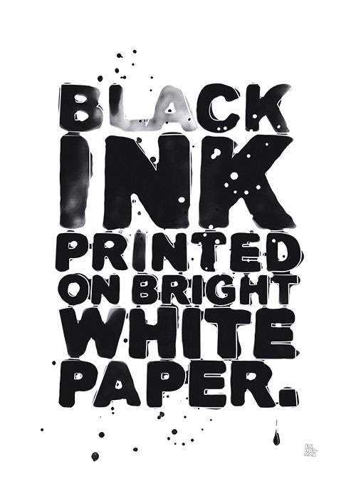 Black ink printed on bright white paper fra F.F. Rodnar