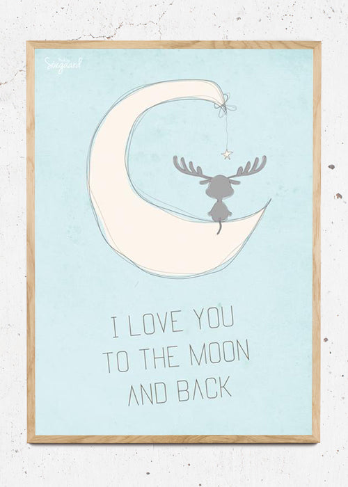 I love you to the moon, blå fra Made By Søegaard