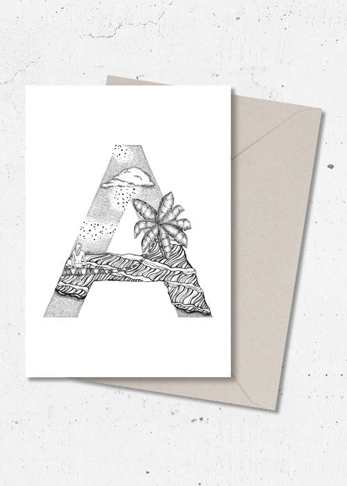 A · ALPHABEACH wall card fra ALPHABEACH by Skye & Sane