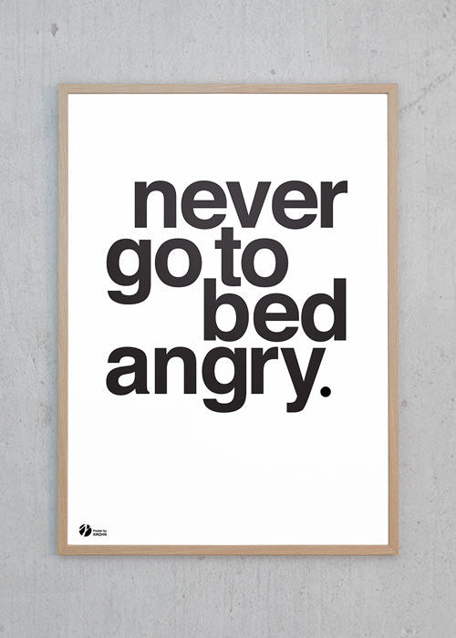 Plakat af Never Go To Bed Angry - S/H fra By Krohn
