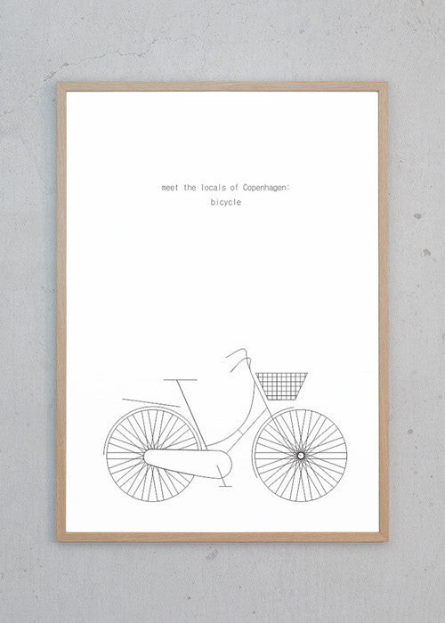 Plakat af MTLOC: Bicycle - White fra Hamide Design Studio