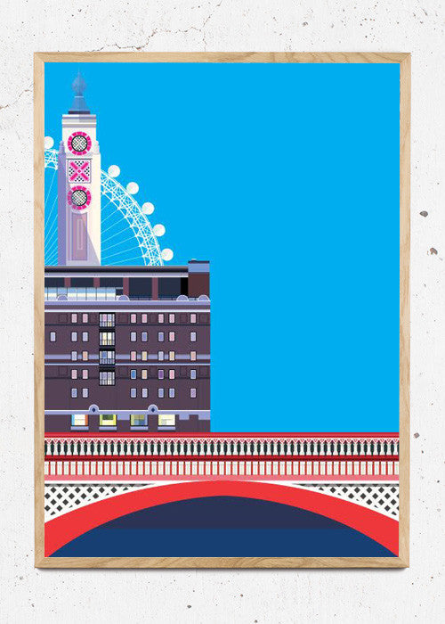 Plakat af Blackfriars Bridge and the OXO Tower fra Sivellink