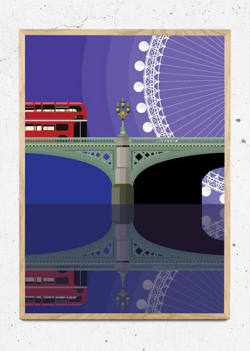 Plakat af Westminster Bridge and the London Eye fra Sivellink
