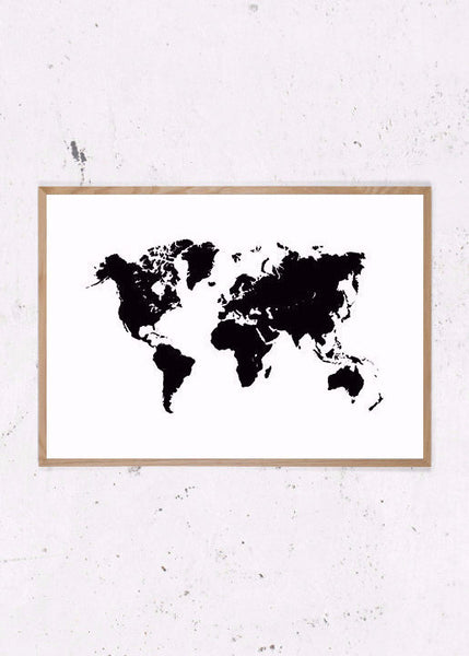 Verdenskort, Worldmap, Sort/Hvid fra Beautiful World