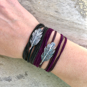 Leather and feather wrap bracelet