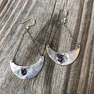 Reticulated Half Moon Earrings Purple