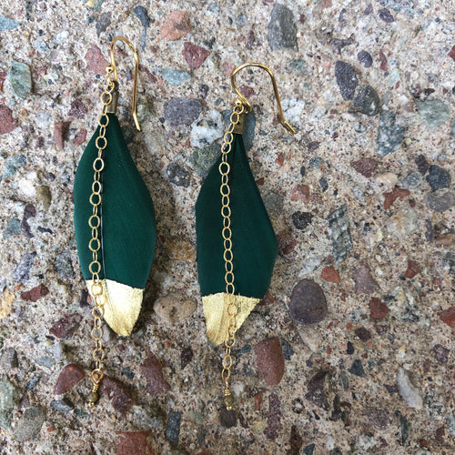 Gold Dipped Feather Dark Green