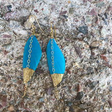 Load image into Gallery viewer, Gold Dipped Feather Turquoise