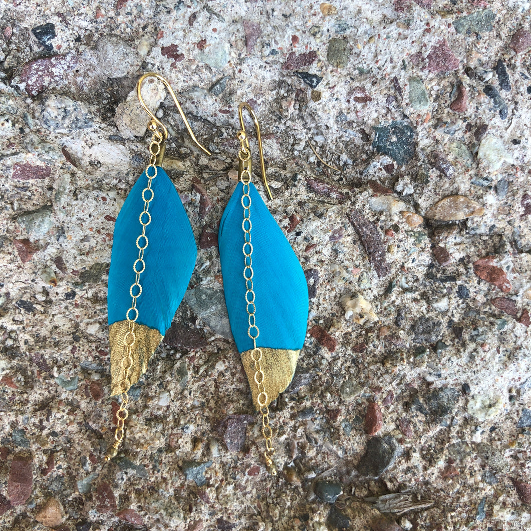 Gold Dipped Feather Turquoise