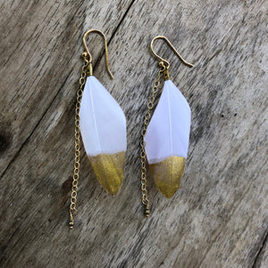 Feather Earrings White