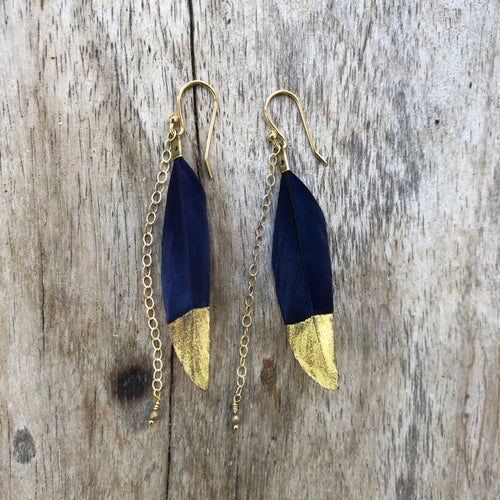 Dipped Feather Earrings Blue