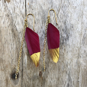 Feather Earrings Red