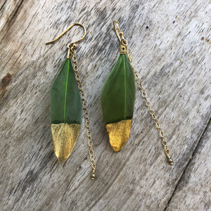 Feather Earrings Green
