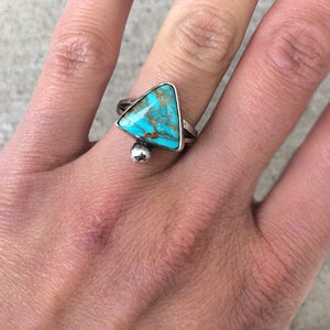 Triangle Turquoise Bauble Ring Silver