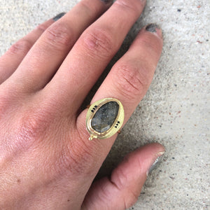 Sunstone Pattern Ring in Gold Fill