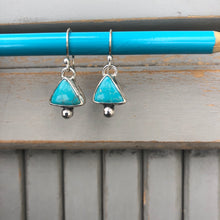 Load image into Gallery viewer, Triangle Turquoise Bauble Dangles Small