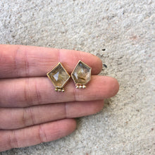Load image into Gallery viewer, Rutilated Quartz Bauble Studs Gold Fill