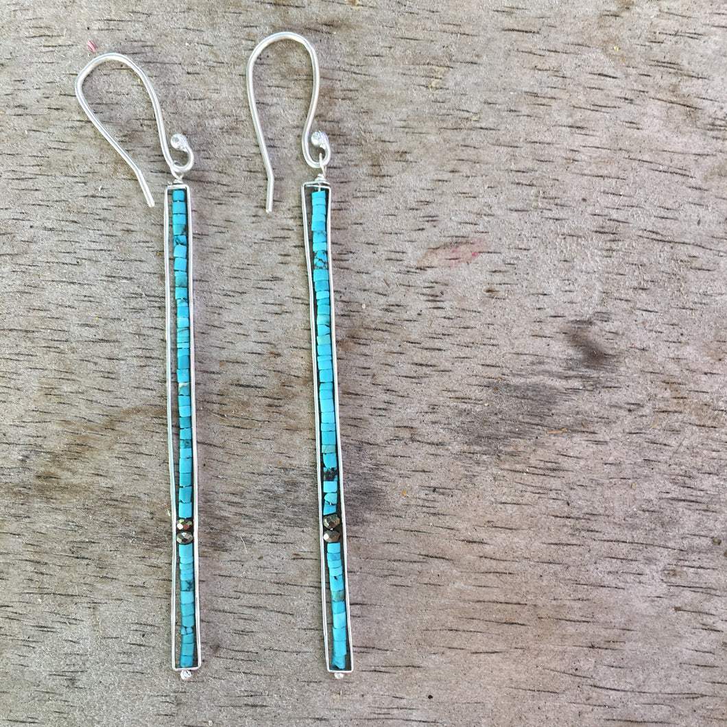 turquoise heishi earrings