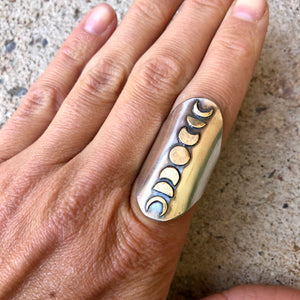 Moon Phase Shield Ring