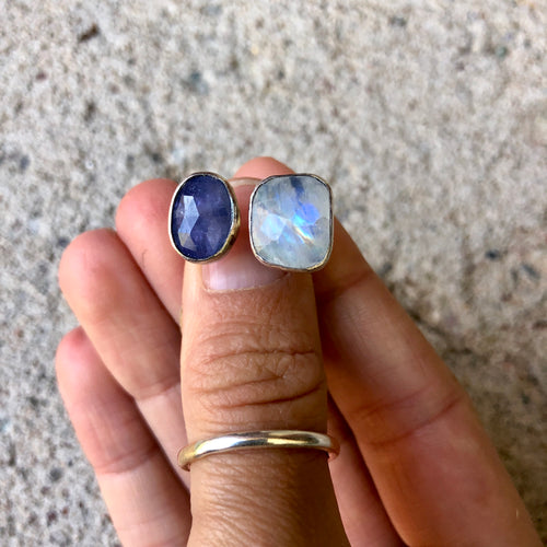 Double Stone Ring Iolite/Moonstone