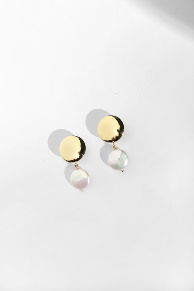 Young Frankk Coin Pearl Earrings