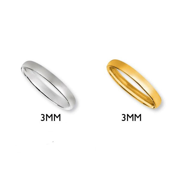 14K Classic Wedding Band 3MM in Yellow or White Gold - Alpha Shine On LLC