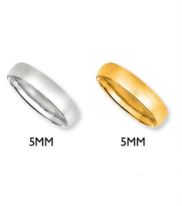 14K Classic Wedding Band 5mm  in Yellow or White Gold - Alpha Shine On LLC