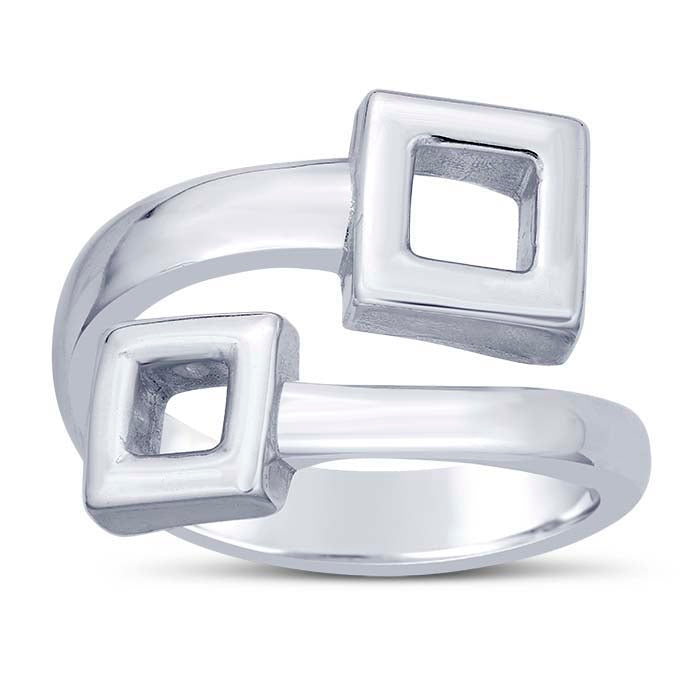 Sterling Silver Bypass Square Ring - Alpha Shine On LLC