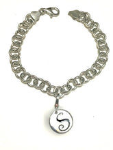Load image into Gallery viewer, Silver Charm Bracelet with Initial - Alpha Shine On LLC